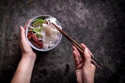 Traditional Vietnamese soup Pho Bo