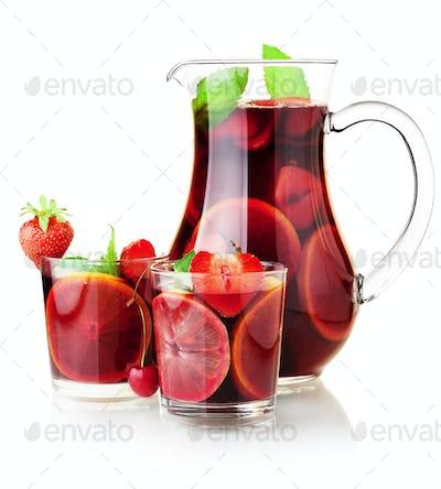 Sangria jug and two glasses