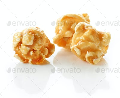 caramel popcorn on a white background