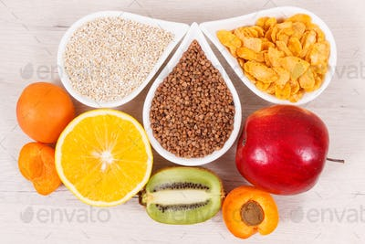 Nutritious products containing vitamin B3 and other natural minerals, healthy nutrition concept