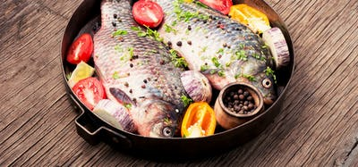 Fresh raw fish and food ingredients