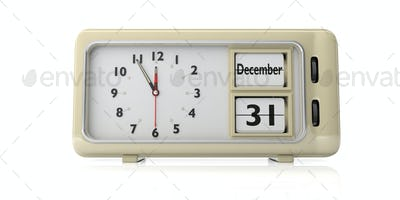 Retro alarm clock with date December 31st isolated on white background. 3d illustration