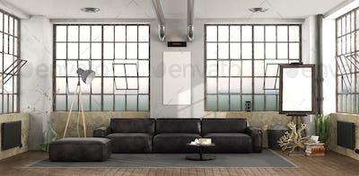 Black sofa in loft