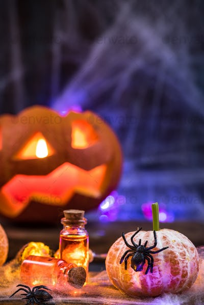 Halloween funny candles and table festive decorations