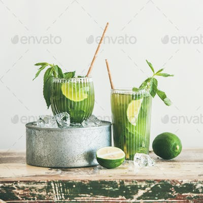 Matcha ice-tea with lime and mint in glasses, square crop
