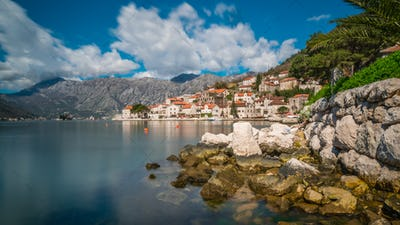 View of the beautiful Perast town