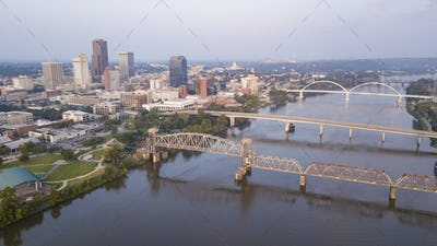 Aerial View over the Arkansas River and Downtown Little the state capitol