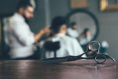 Getting haircut at the barbershop