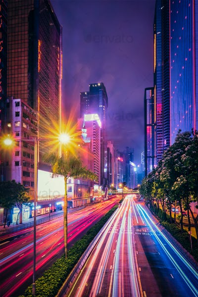 Street traffic in Hong Kong at night