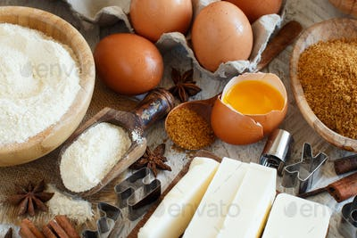 Ingredients and utensils for baking cookies