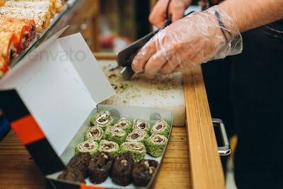 Turkish sweets in the Egyptian bazaar. Istanbul.