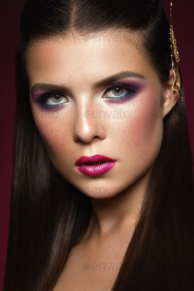 Beauty Brunette Woman with Perfect Make up.