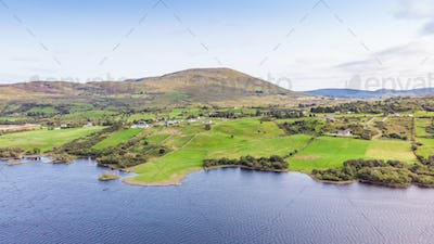 An Aerial View of Lough Nafooey in Ireland