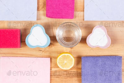 Colorful domestic accessories and natural detergents