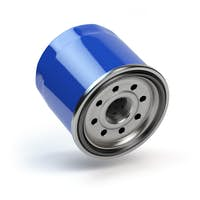 Oil filter isolated on white background. Automobile spare part