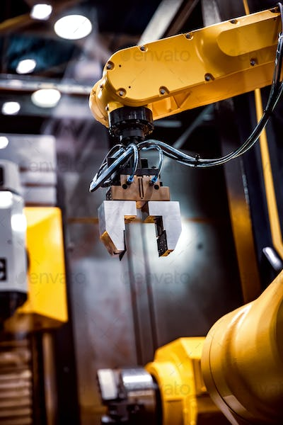 Robotic Arm modern industrial technology. Automated production c