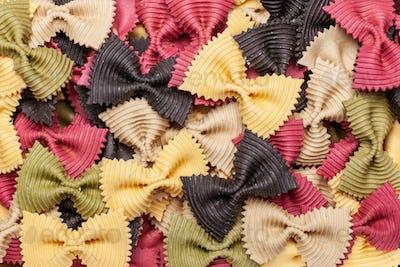 multi colored pasta farafalle texture