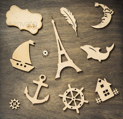 wooden toys at aged background