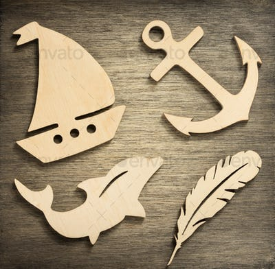 toys at wooden background