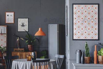 Geometric poster in dark room