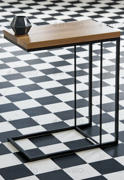 Real photo with close-up of wood and metal end table with black
