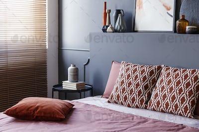 Patterned modern bedroom interior