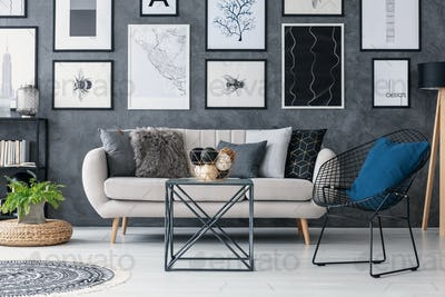 Plant on pouf next to sofa in grey living room interior with tab