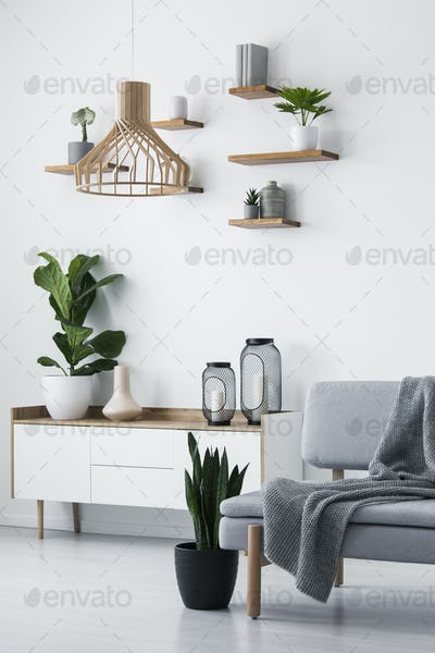 Wooden pendant light, simple shelves on a white wall and a plant