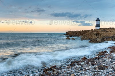 Sunset over Trwyn Du Lighthouse on Anglesey