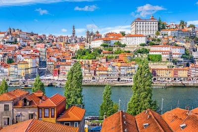 Porto, Portugal old town skyline from across the Douro River.Po