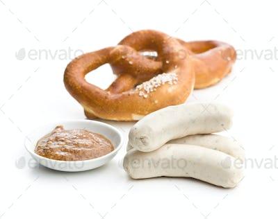 The bavarian weisswurst, pretzel and mustard.