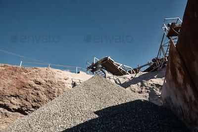 Crushing, grinding, sorting and transportation lines on slag dump