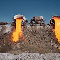 A stream of molten slag