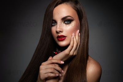 Beauty Model Woman with Long Brown Hair.