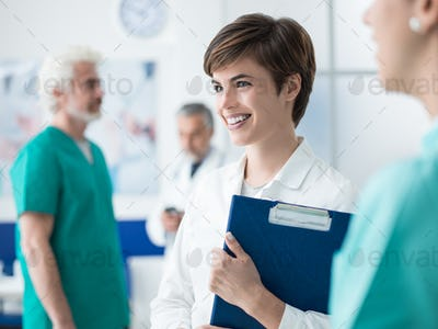 Female doctor working at the clinic