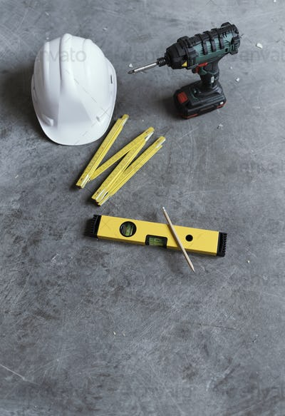 Home renovation and DIY tools still life