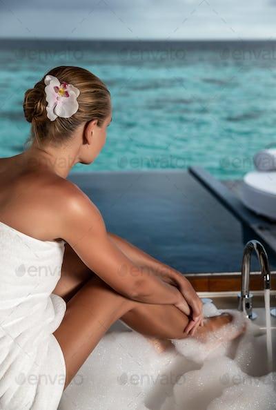 Nice female on spa resort