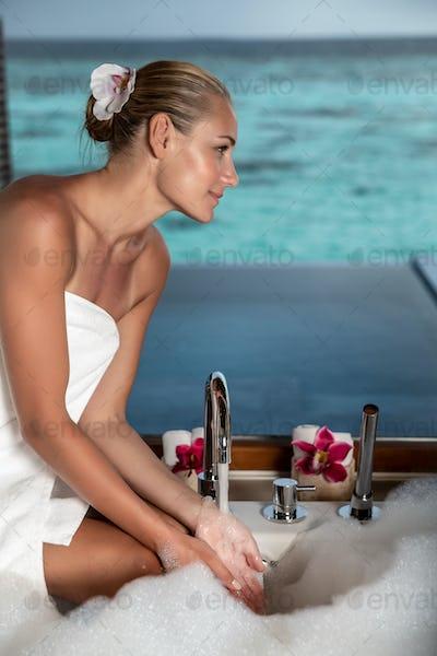 Taking bath on Maldives resort