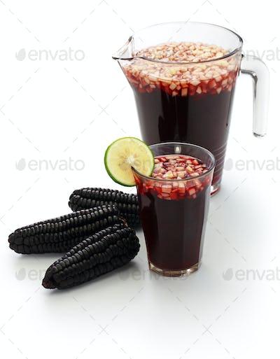 chicha morada, peruvian purple corn drink isolated on white background