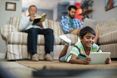 Surface level of family relaxing at home