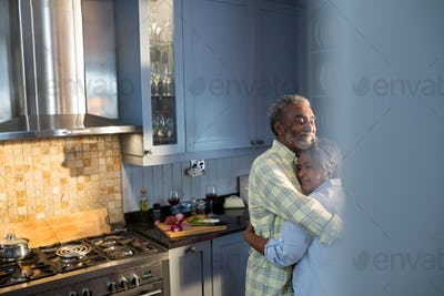 Affectionate smiling couple embracing while standing in kitchen