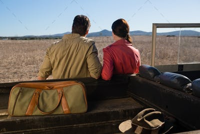 Rear view of couple by off road vehicle looking at landscape