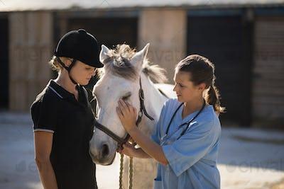 Female jockey looking at vet stroking horse