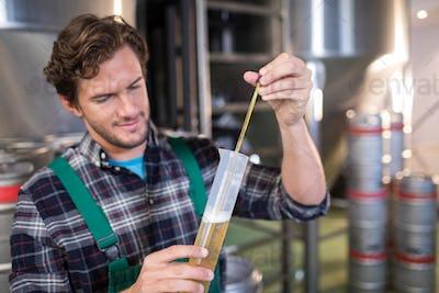 Confident worker examining beer