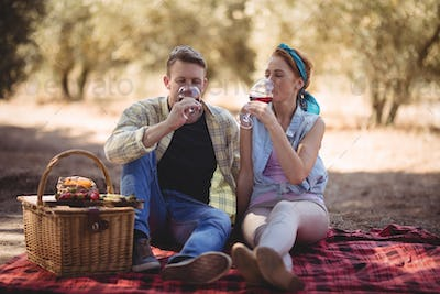 Young couple drinking red wine while sitting at farm