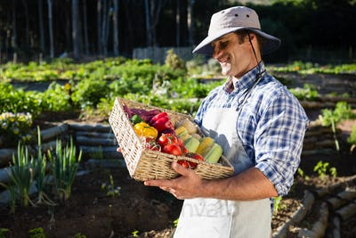Happy man holding a basket of fresh vegetables