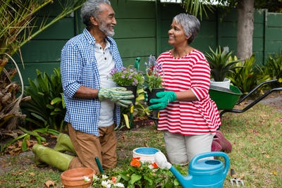 Smiling senior couple holding plants while kneeling together
