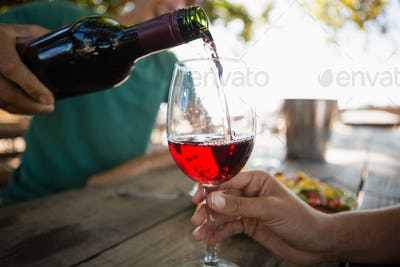Man pouring wine in glass held by female friend