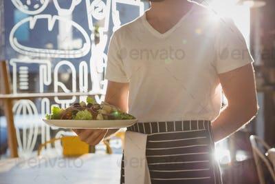 Mid section of waiter holding plate with salad in cafe