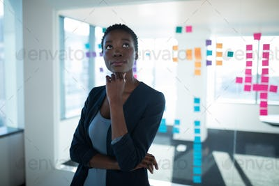 Female executive standing in office